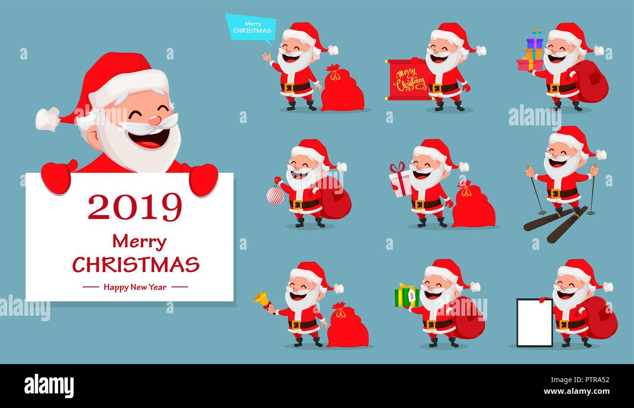 Merry christmas funny santa claus set of ten poses cheerful merry christmas funny santa claus set of ten poses cheerful cartoon character usable for greeting card banner poster flyer label or tag vecto m4hsunfo