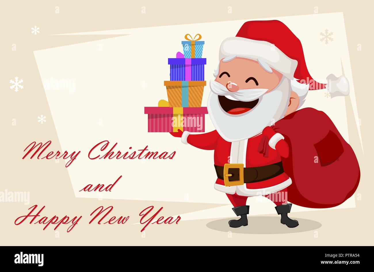 merry christmas greeting card with funny santa claus cheerful cartoon character holding four gift boxes usable for banner poster flyer label or t - Funny Merry Christmas Greetings
