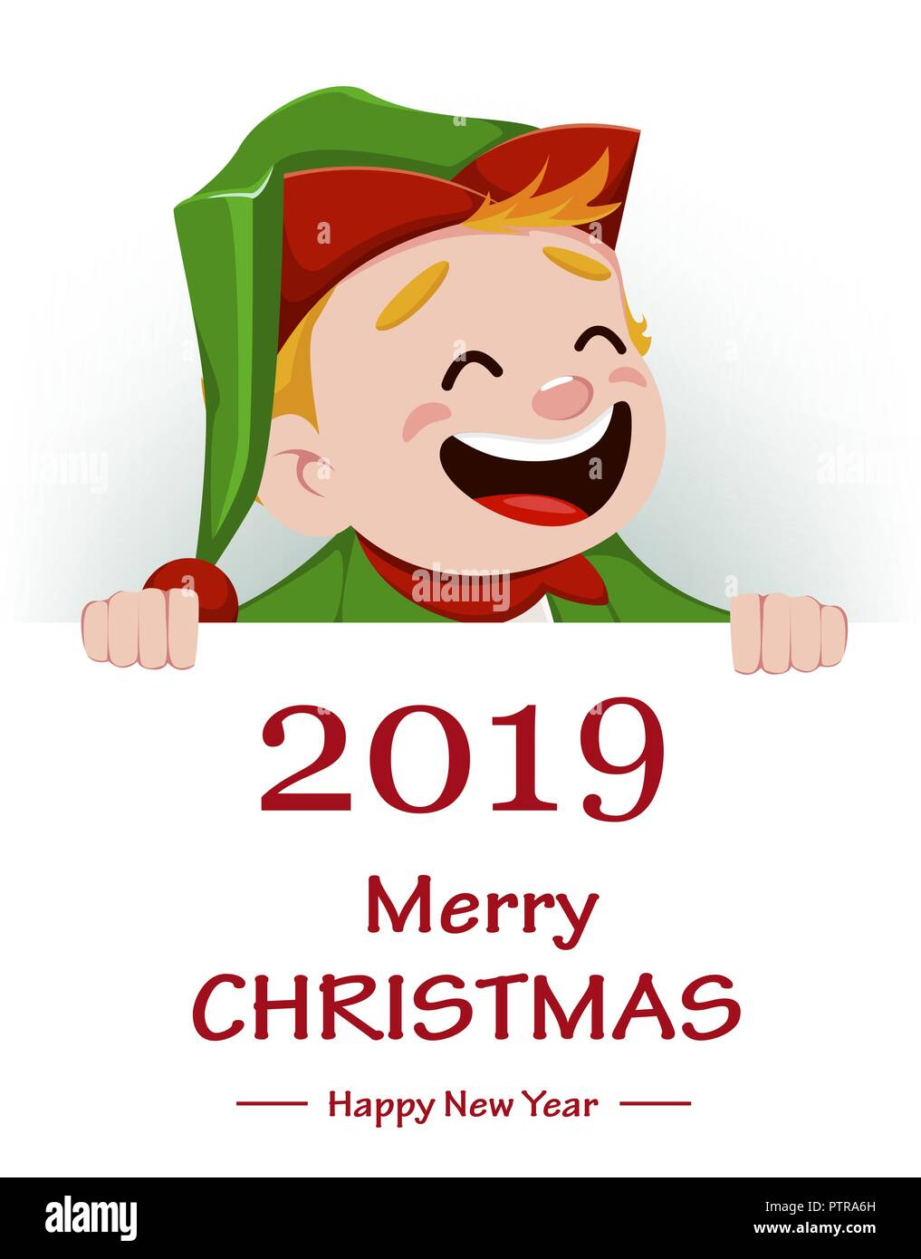 Merry christmas funny santa claus helper cheerful cute elf merry christmas funny santa claus helper cheerful cute elf cartoon character holding placard with greetings usable for greeting card banner post m4hsunfo