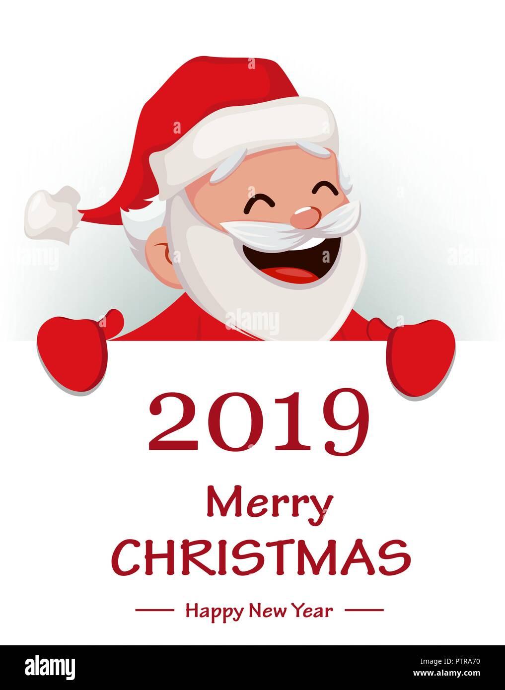 Merry Christmas Funny Santa Claus Cheerful cartoon
