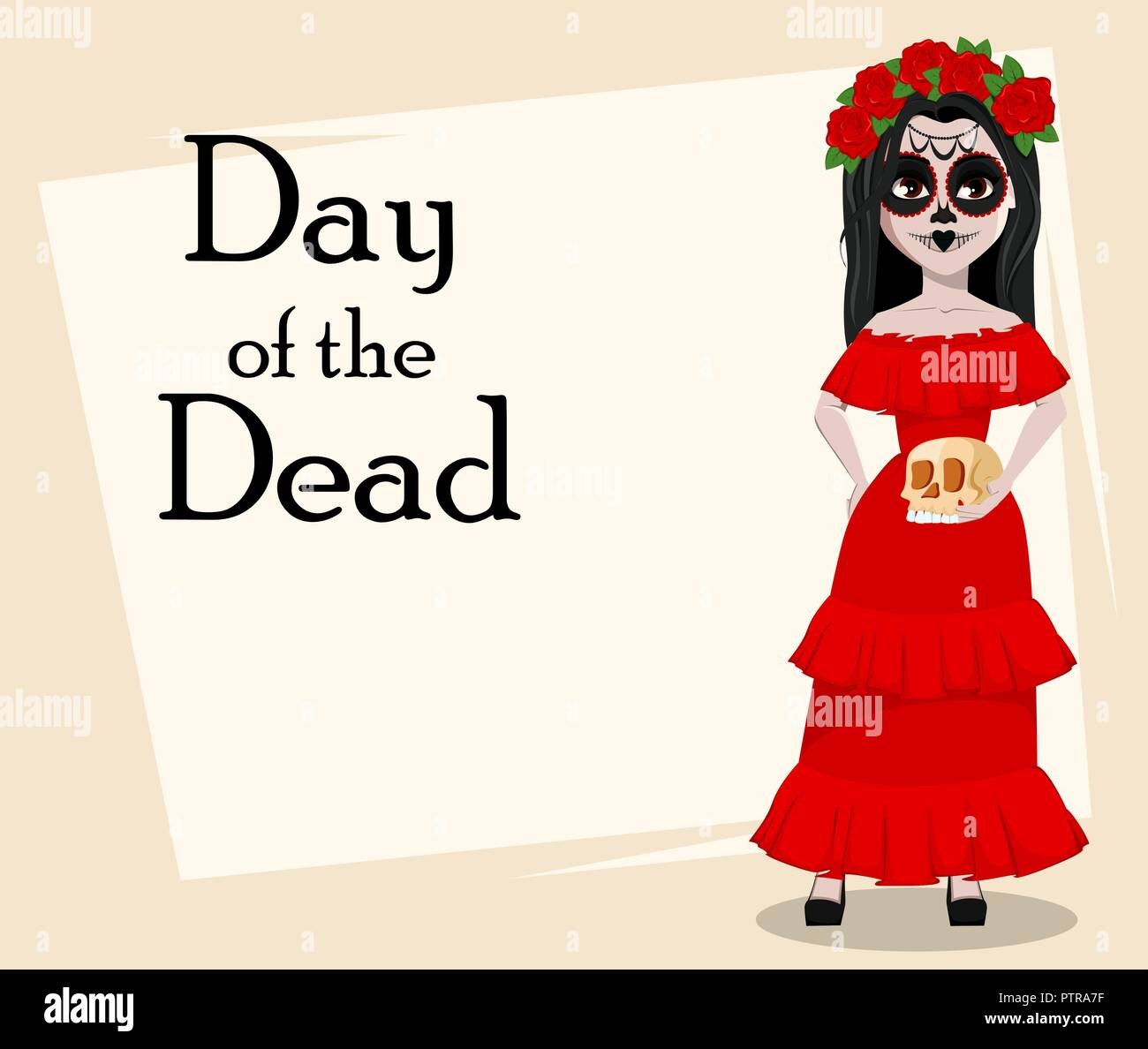 Day Of The Dead Traditional Holiday Beautiful Girl With Spooky Body Art Holding Skull Vector Illustration Usable For Greeting Card Poster Flyer Stock Vector Image Art Alamy