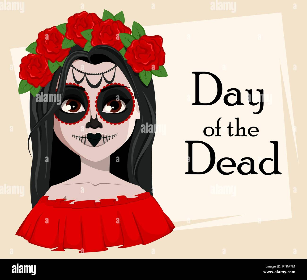 Day Of The Dead Traditional Holiday Beautiful Girl With Spooky Body Art Vector Illustration Usable For Greeting Card Poster Flyer Stock Vector Image Art Alamy