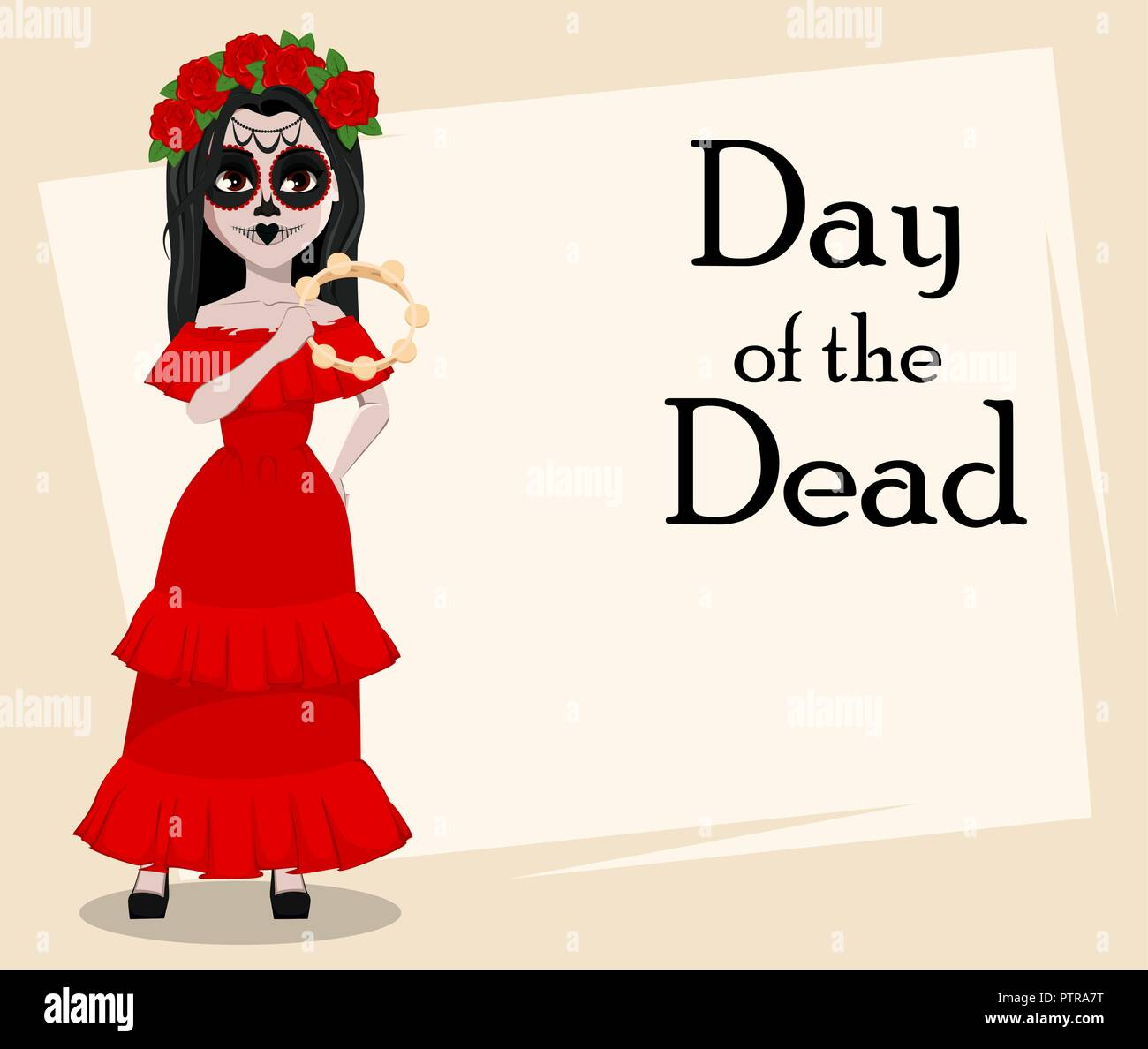 Day Of The Dead Traditional Holiday Beautiful Girl With Spooky Body Art Holding Tambourine Vector Illustration Usable For Greeting Card Poster Fl Stock Vector Image Art Alamy