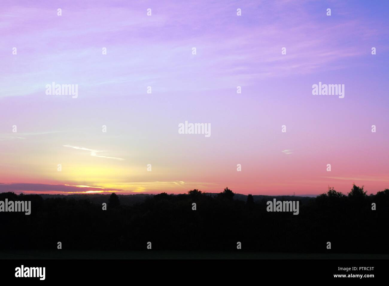 Sun Rising over silhouetted tree lined horizon - Stock Image