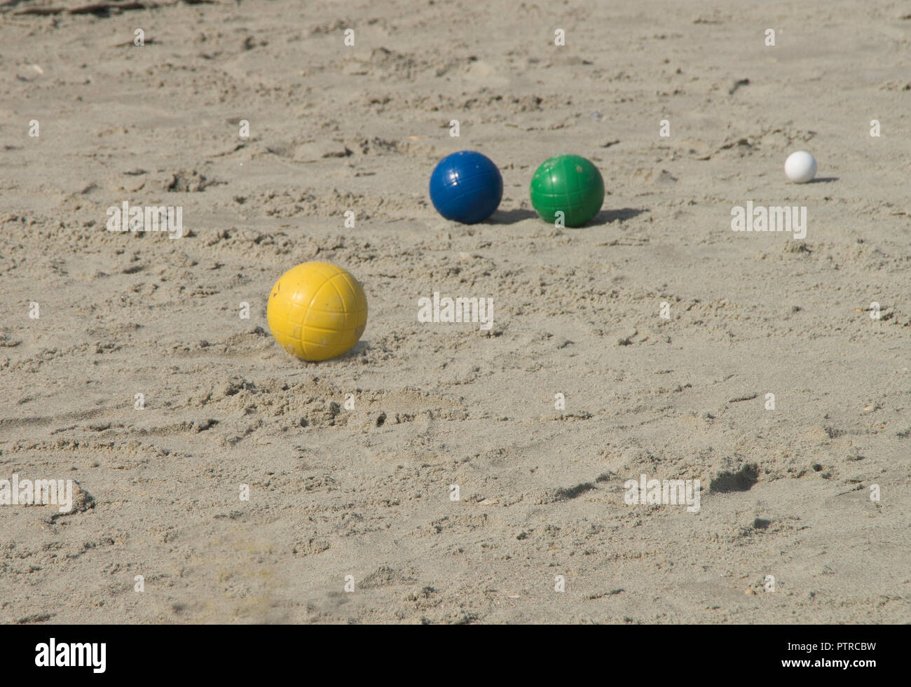 Boche Balls lay on the sand near a campground in Myrtle Beach South Carolina - Stock Image
