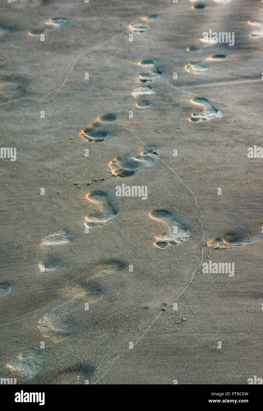 Footprints in the sand after a day at the beach in Myrtle Beach, South Carolina - Stock Image