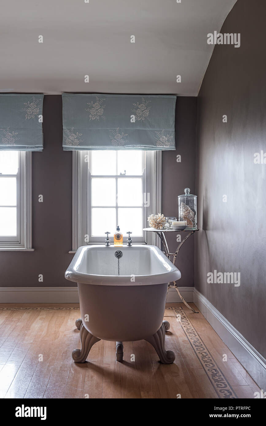 16th Century Farmhouse Renovation Freestanding Bath With Light Blue Emboidered Curtains At Window In Restored 16th Century Farmhouse Stock Photo Alamy