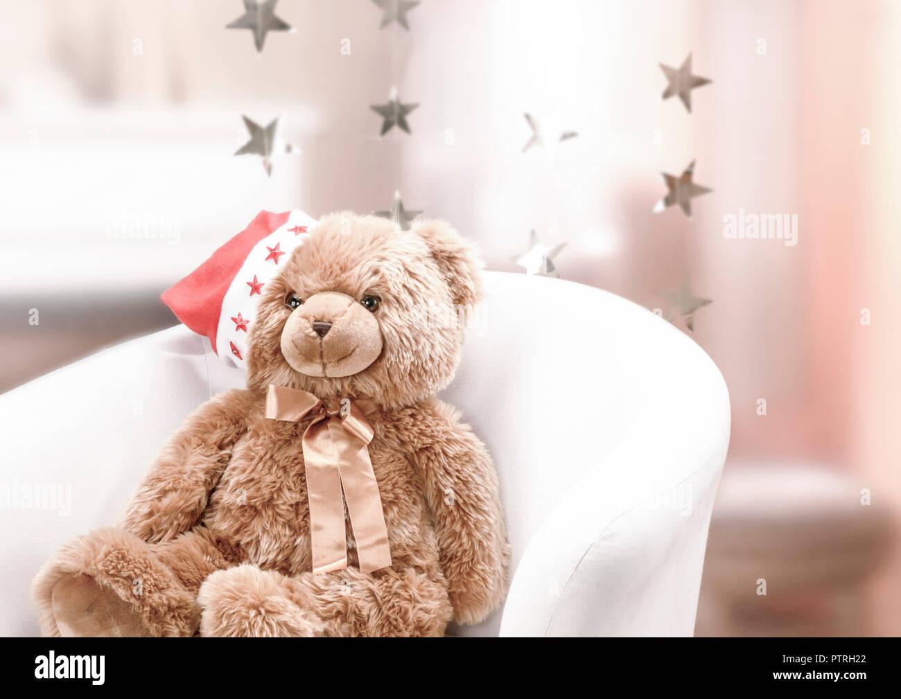 Teddy Weihnachten.Kind Kindheit Teddy Baer Teddybaer Weihnachten Innen Festlich