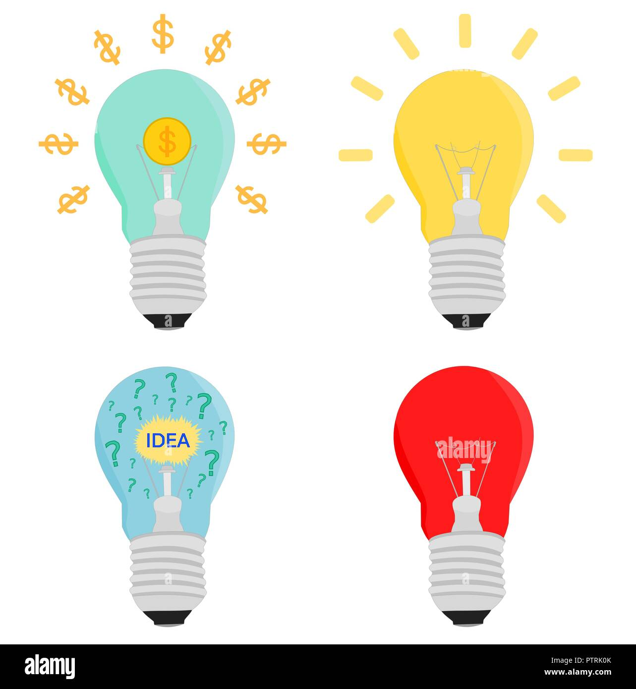 Isolated business light bulb idea concepts icon set , vector design - Stock Vector