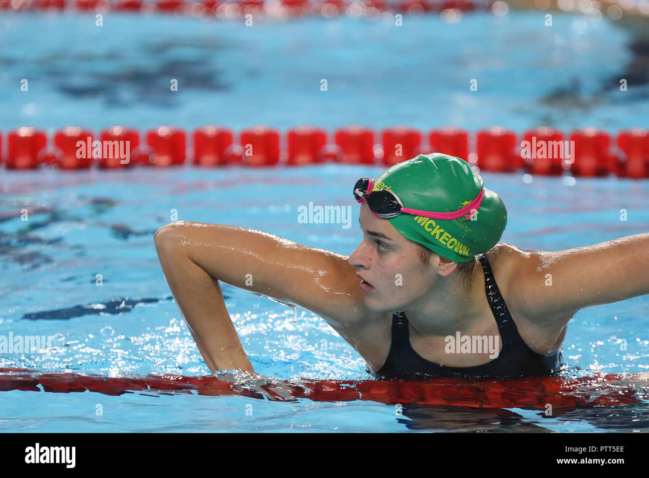 Australian swimmer Kaylee McKeown prepares to compete in the Swimming Women's 50m Backstroke Heat at the Natatorium during the fourth day of competitions of the Youth Olympic Games, in Buenos Aires, Argentina, 10 October 2018. EFE/Juan Ignacio Roncoroni - Stock Image