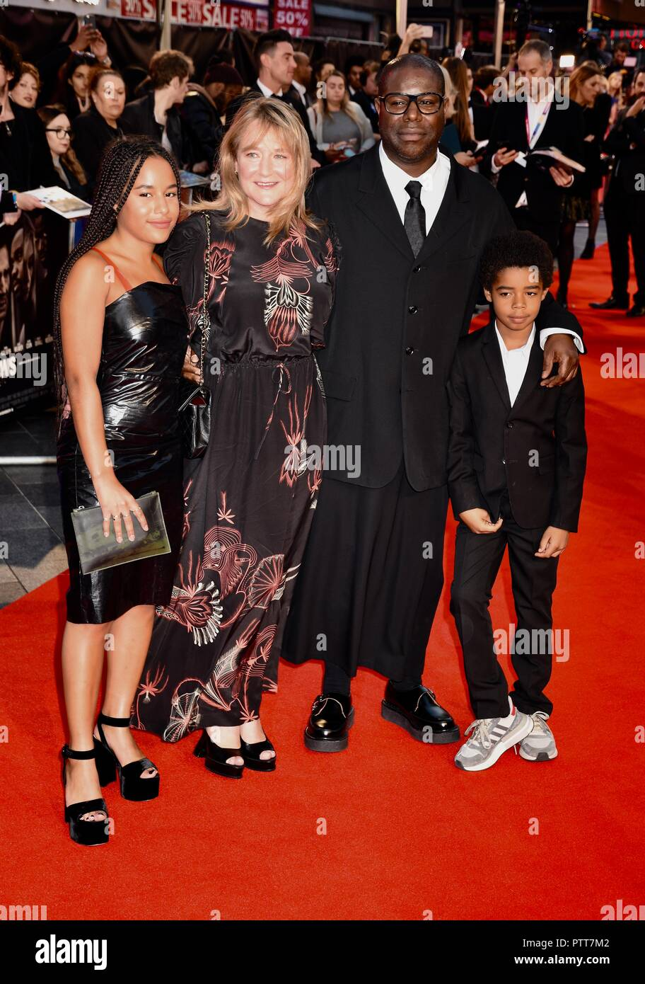London, UK. 10th October, 2018. Steve McQueen and family,'Widows' BFI London Film Festival Opening Gala,Leicester Square,London.UK Credit: michael melia/Alamy Live News - Stock Image