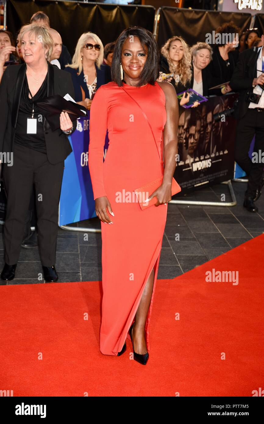 London, UK. 10th October, 2018. Viola Davis,'Widows' BFI London Film Festival Opening Gala,Leicester Square,London.UK Credit: michael melia/Alamy Live News - Stock Image