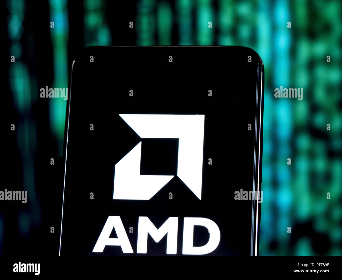 Kiev, Ukraine. 10th Oct, 2018. Advanced Micro Devices logo seen displayed on smart phone. Advanced Micro Devices, Inc. is an American multinational semiconductor company based in Santa Clara, California, that develops computer processors and related technologies for business and consumer markets. Credit: Igor Golovniov/SOPA Images/ZUMA Wire/Alamy Live News - Stock Image