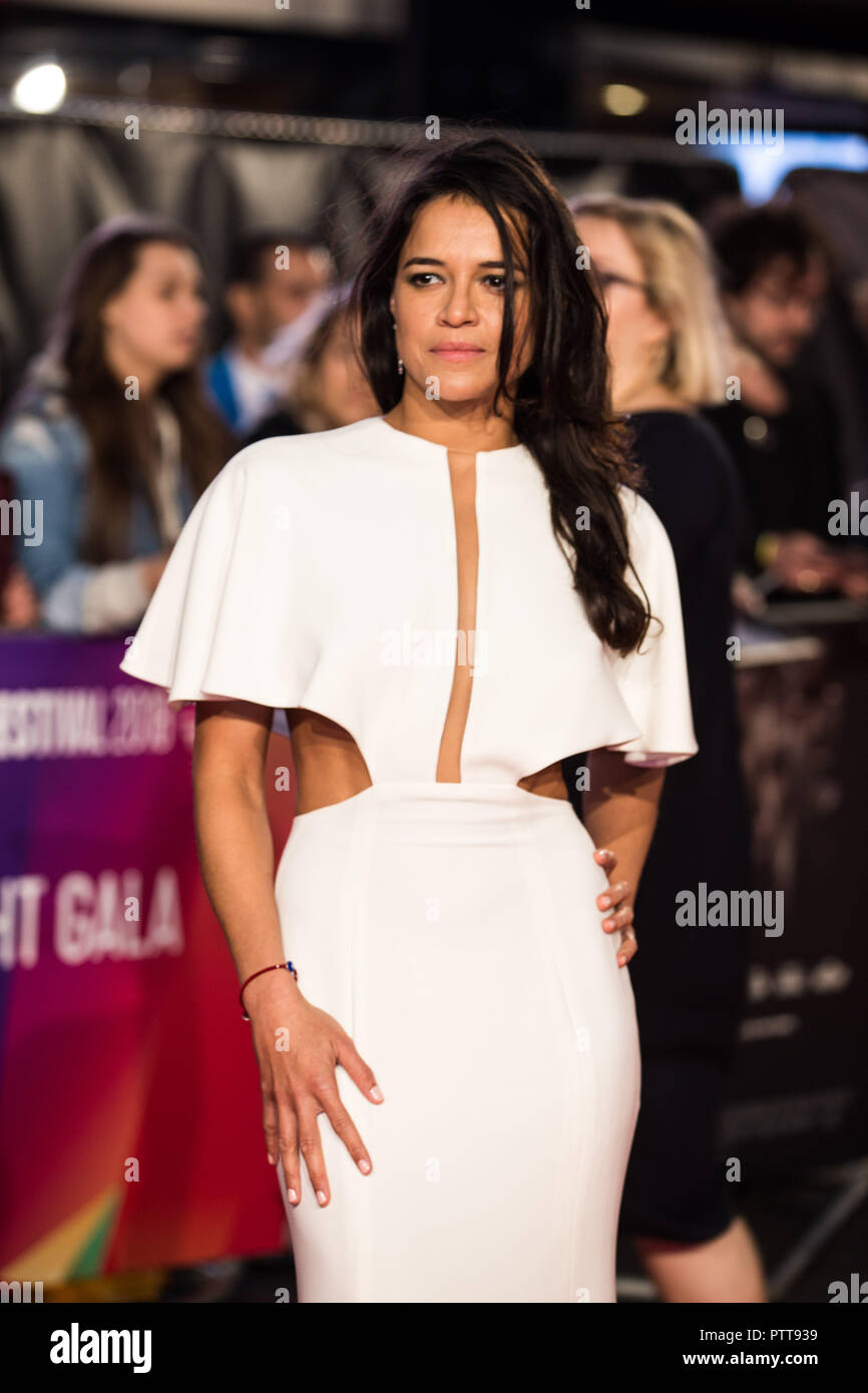 London, UK. 10th Oct 2018. Michelle Rodriguez at Widows Premiere and opening night of the 62nd BFI London Film Festival 2018 on Wednesday 10th October, 2018 at Cineworld, Leicester Square, London, ENGLAND. Credit: Tom Rose/Alamy Live News - Stock Image