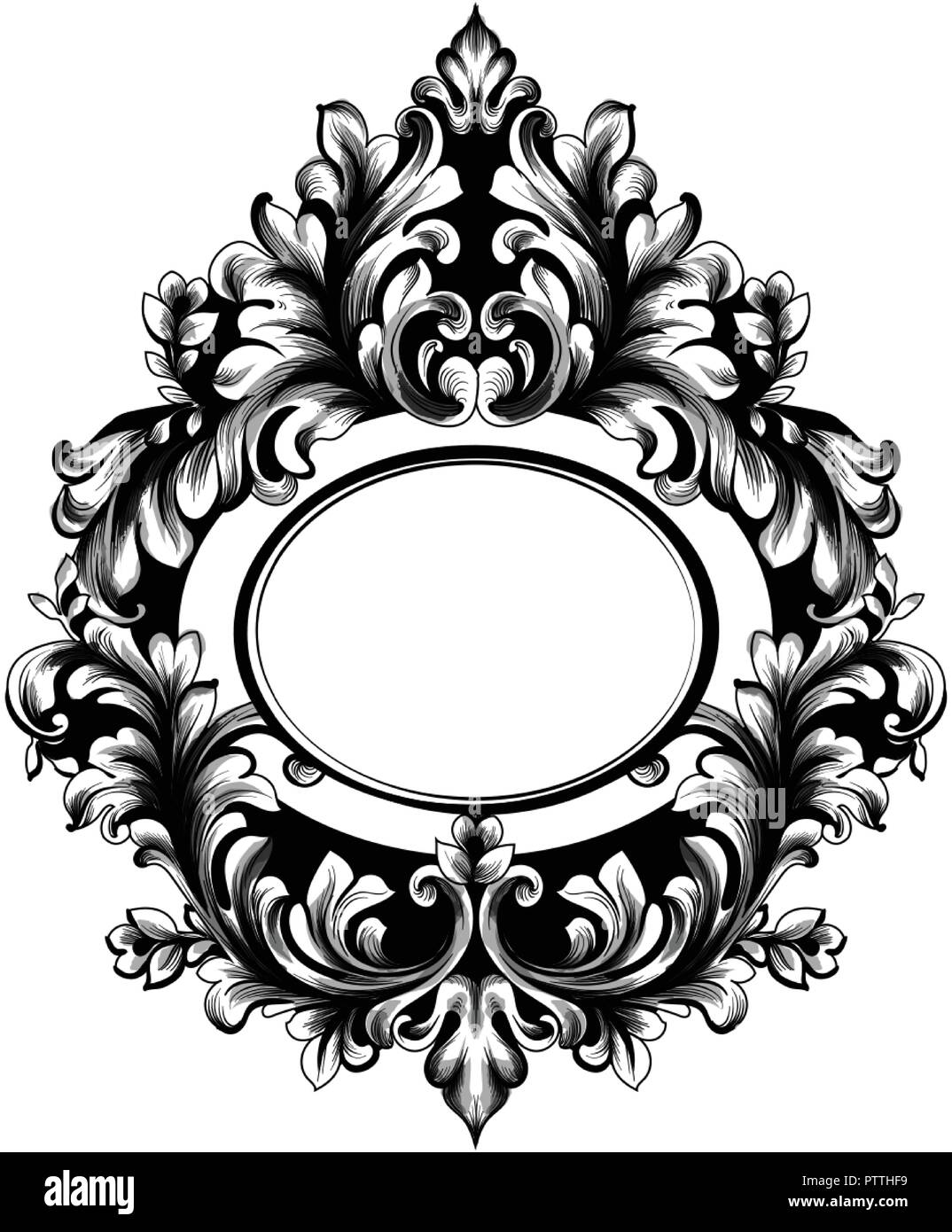 Baroque Oval Frame Vector French Luxury Rich Intricate Ornaments
