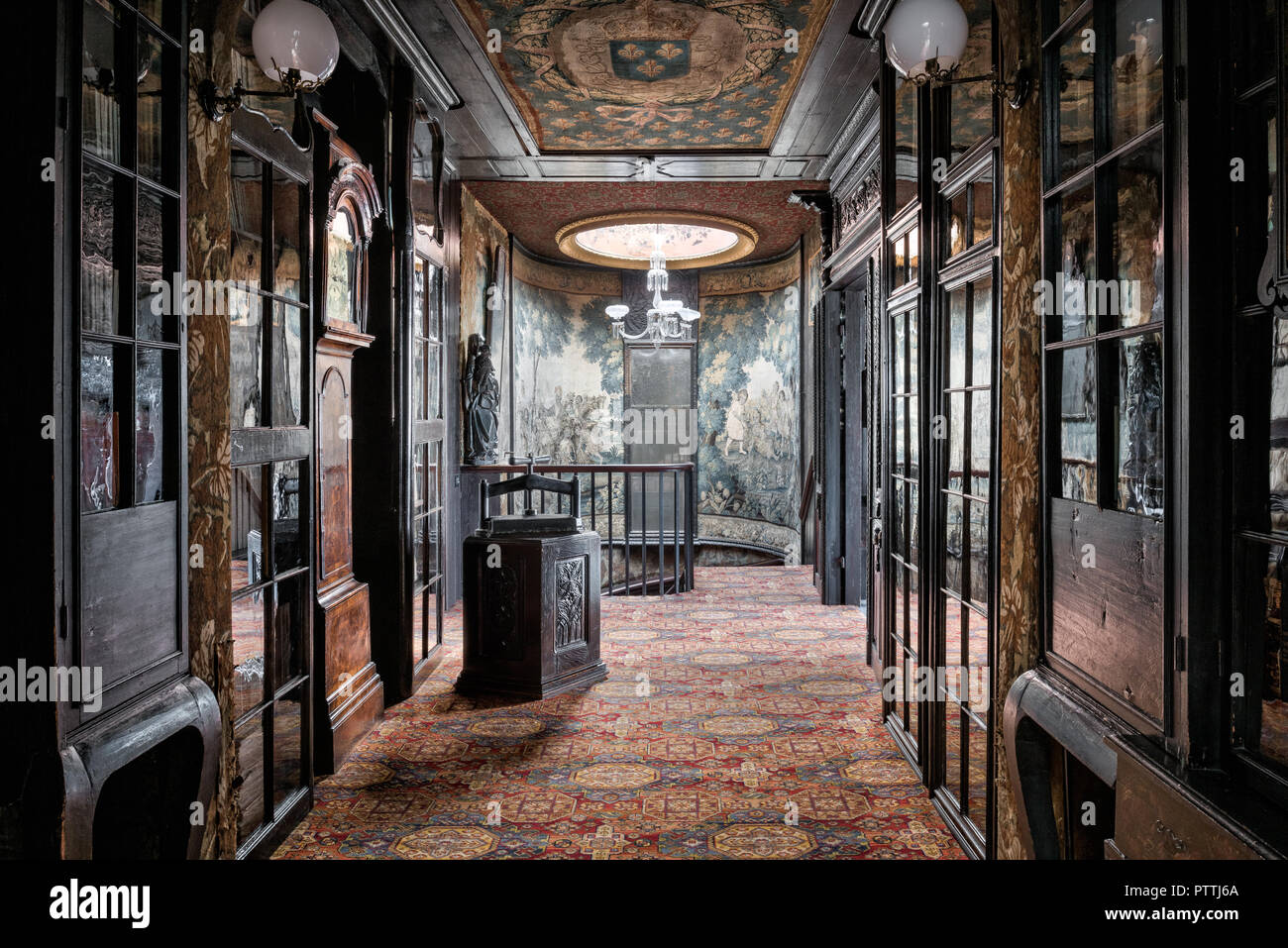 Oak gallery with tapstery ceilings on upper floors of Hauteville House - Stock Image