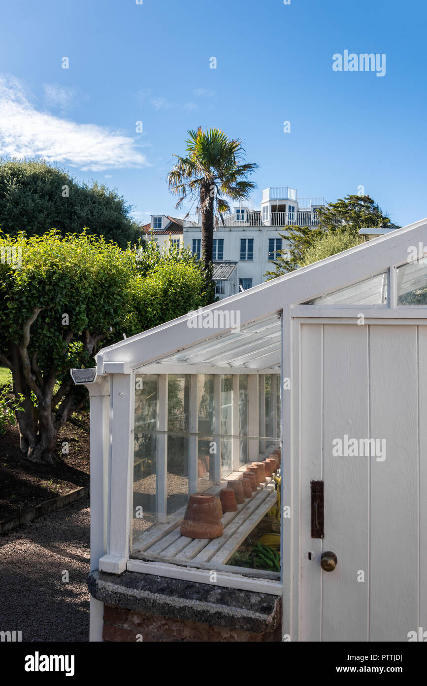 Garden potting shed in grounds of Hauteville House - Stock Image