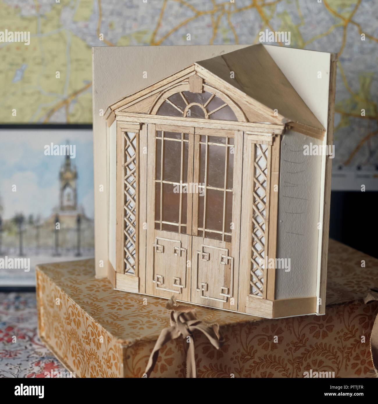 Architectural scale model in Lord Snowdon's Kensington home - Stock Image