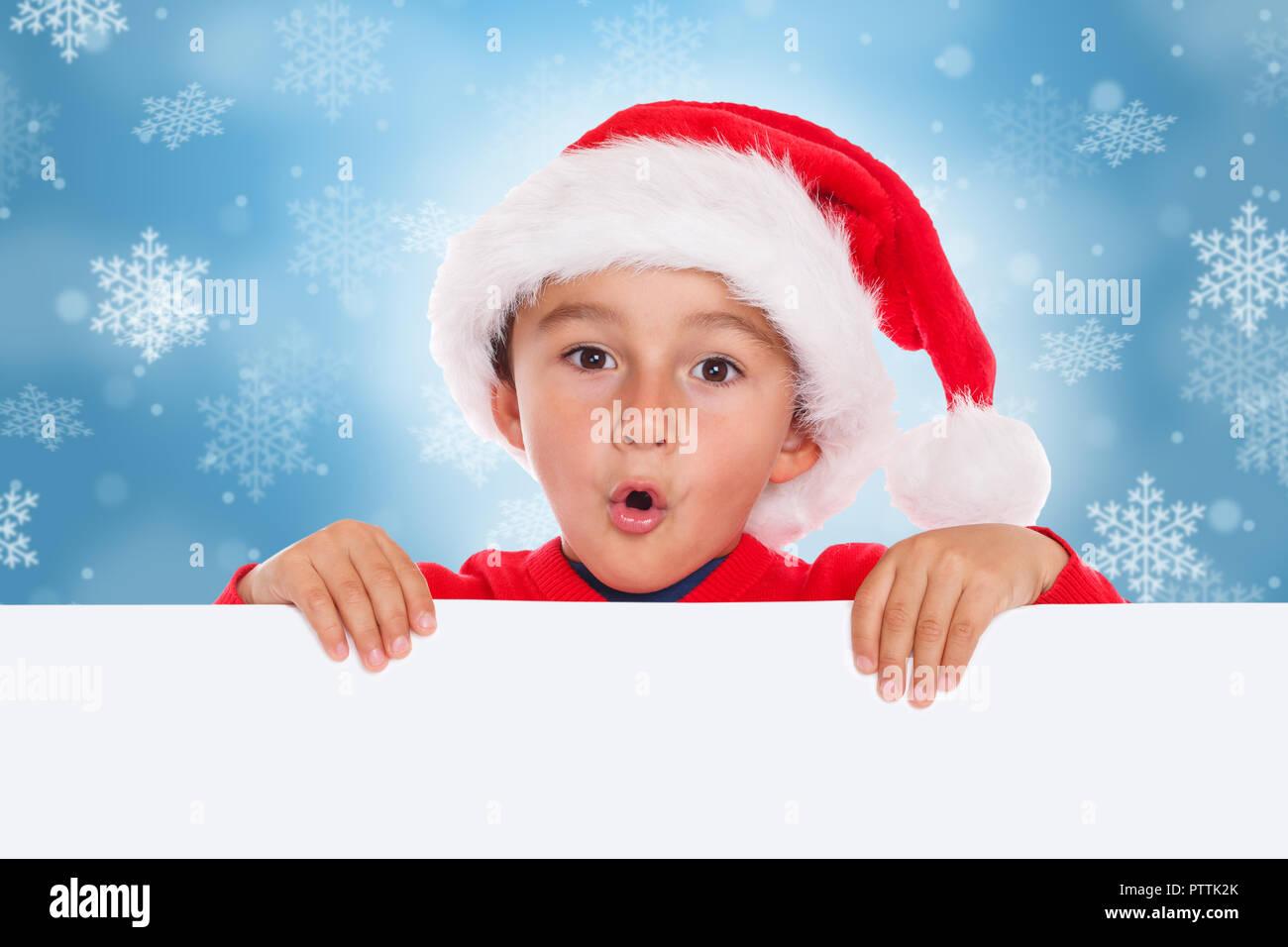 Child kid Christmas card Santa Claus empty banner copyspace ...