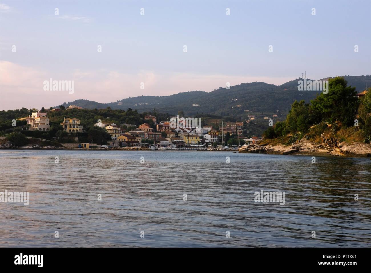 Leaving Kassiopi harbour, Corfu, Greece - Stock Image