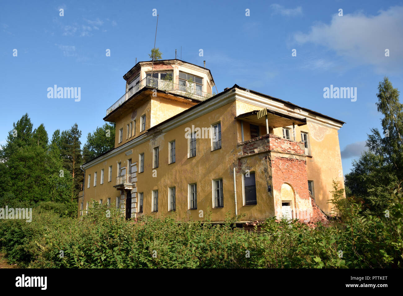 The control tower of the former soviet air base in Tartu, Estonia. - Stock Image