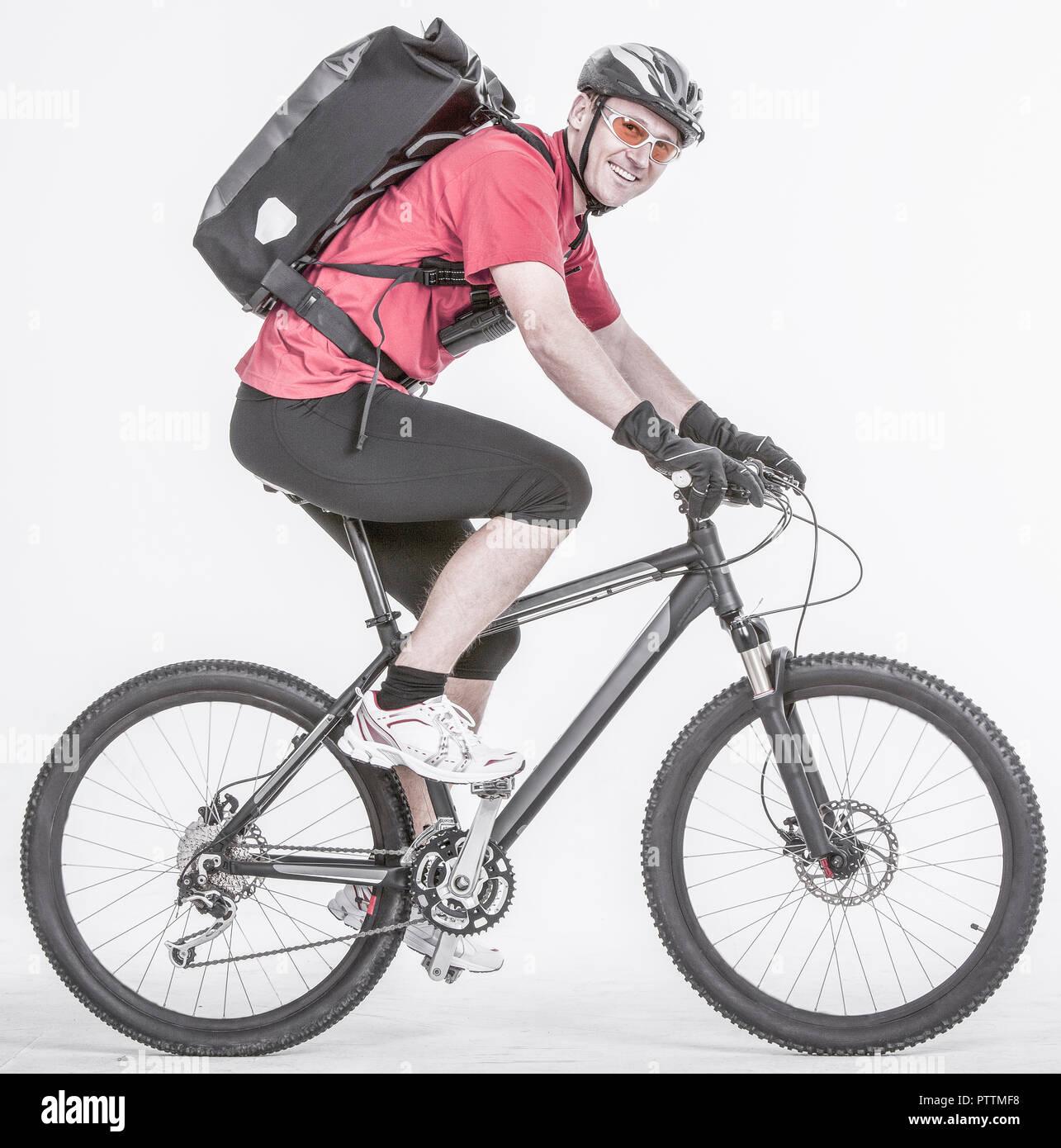 Fahrradkurier auf Rad (model-released) Stock Photo