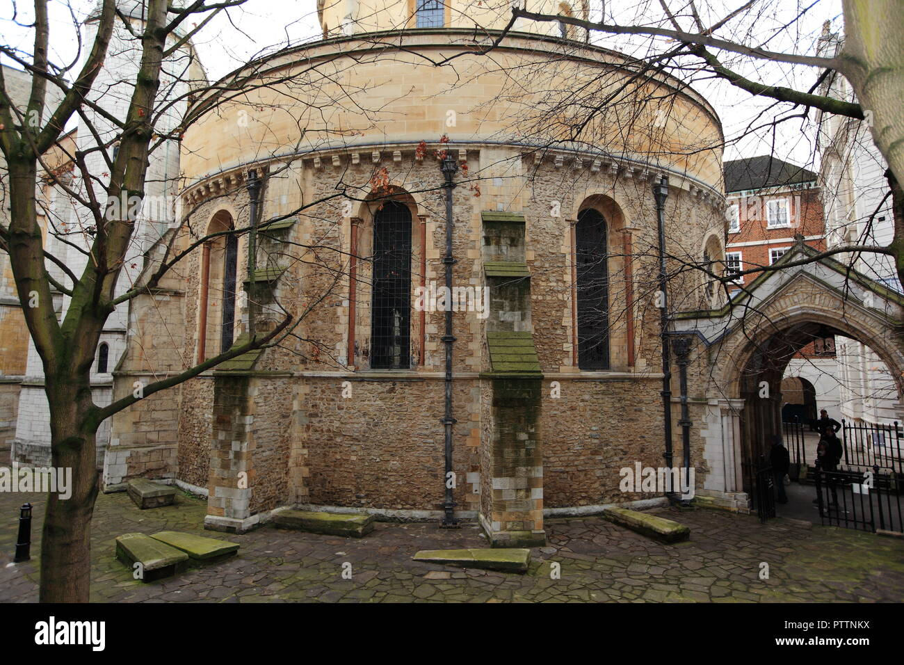 The Temple Church in London, built by the Knights Templar as their English headquarters in late 12th-century. - Stock Image