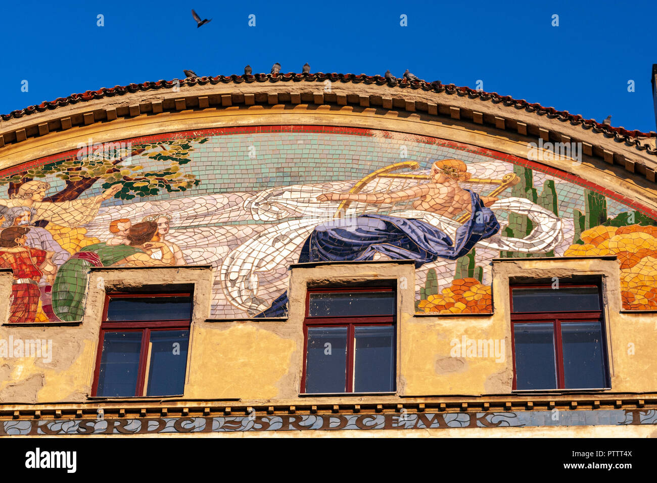 Musician tiles in the Art nouveau house on the right bank of the Vltava, Hlahol building in Masarykovo nábř. Prague, Czech Republic. - Stock Image