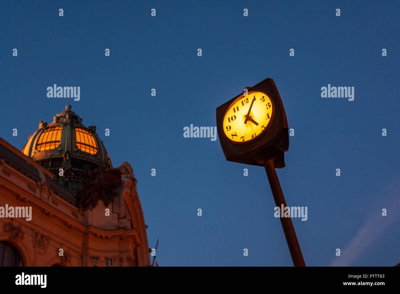 Deco street clock outside Municipal House, Obecní dům,, Prague, Czech Republic. Stock Photo