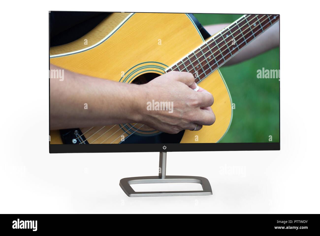 4k monitor isolated on white - Stock Image