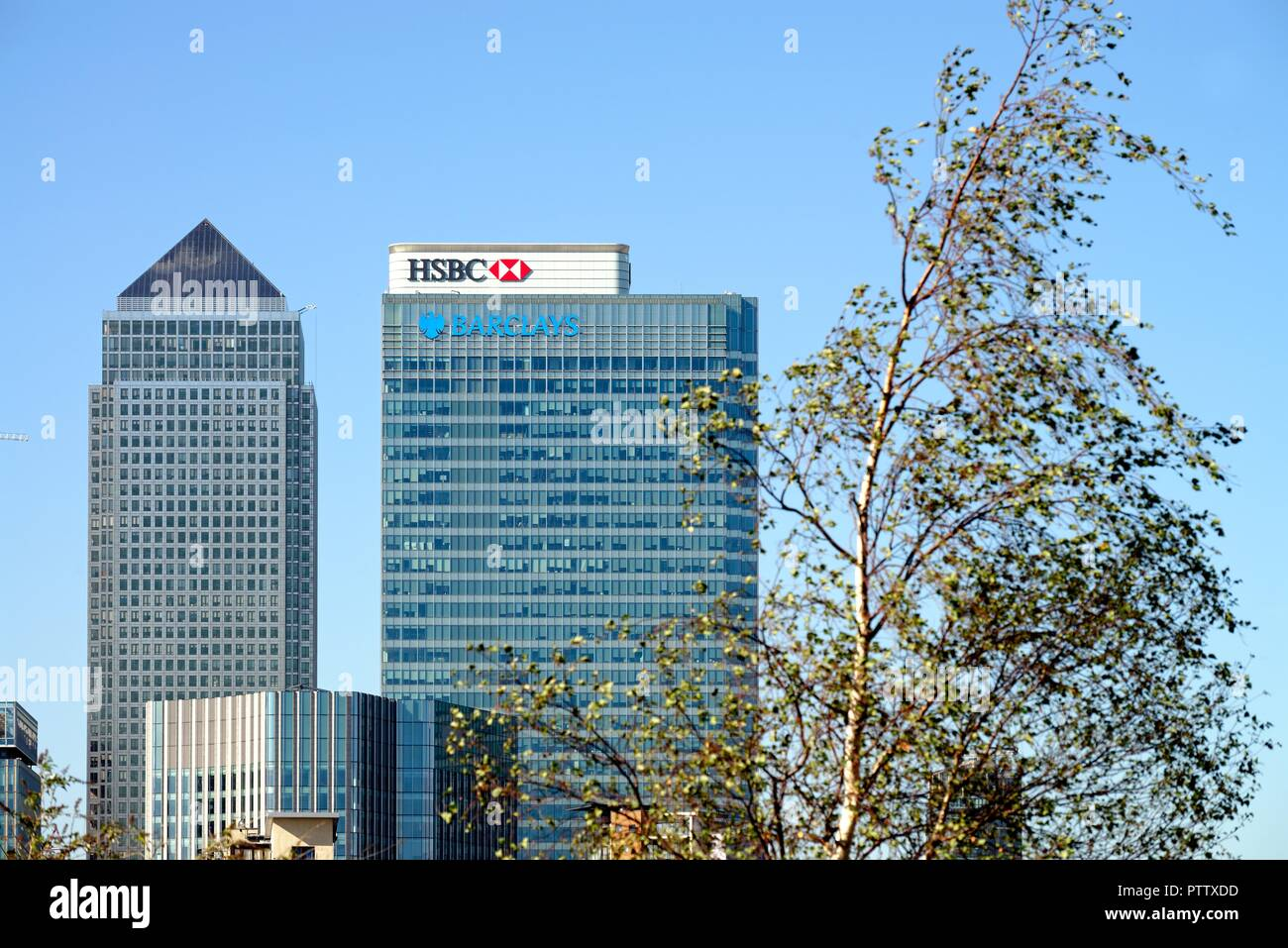 Banking headquarters at Canary Wharf London Docklands England UK - Stock Image