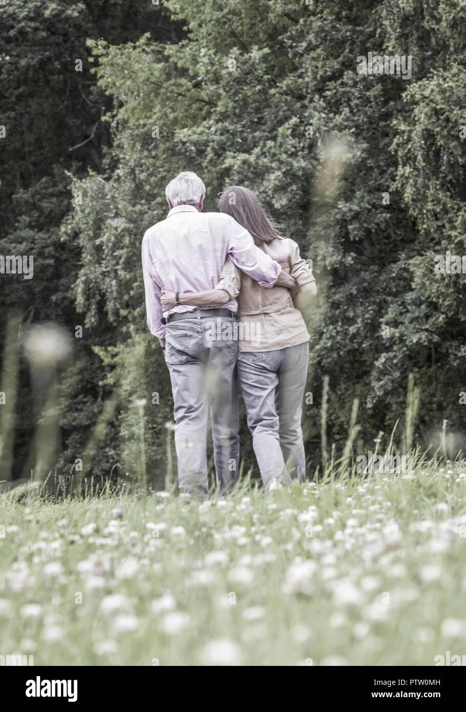 Seniorenpaar beim Spazierengehen an Waldrand, von hinten (model-released) - Stock Image