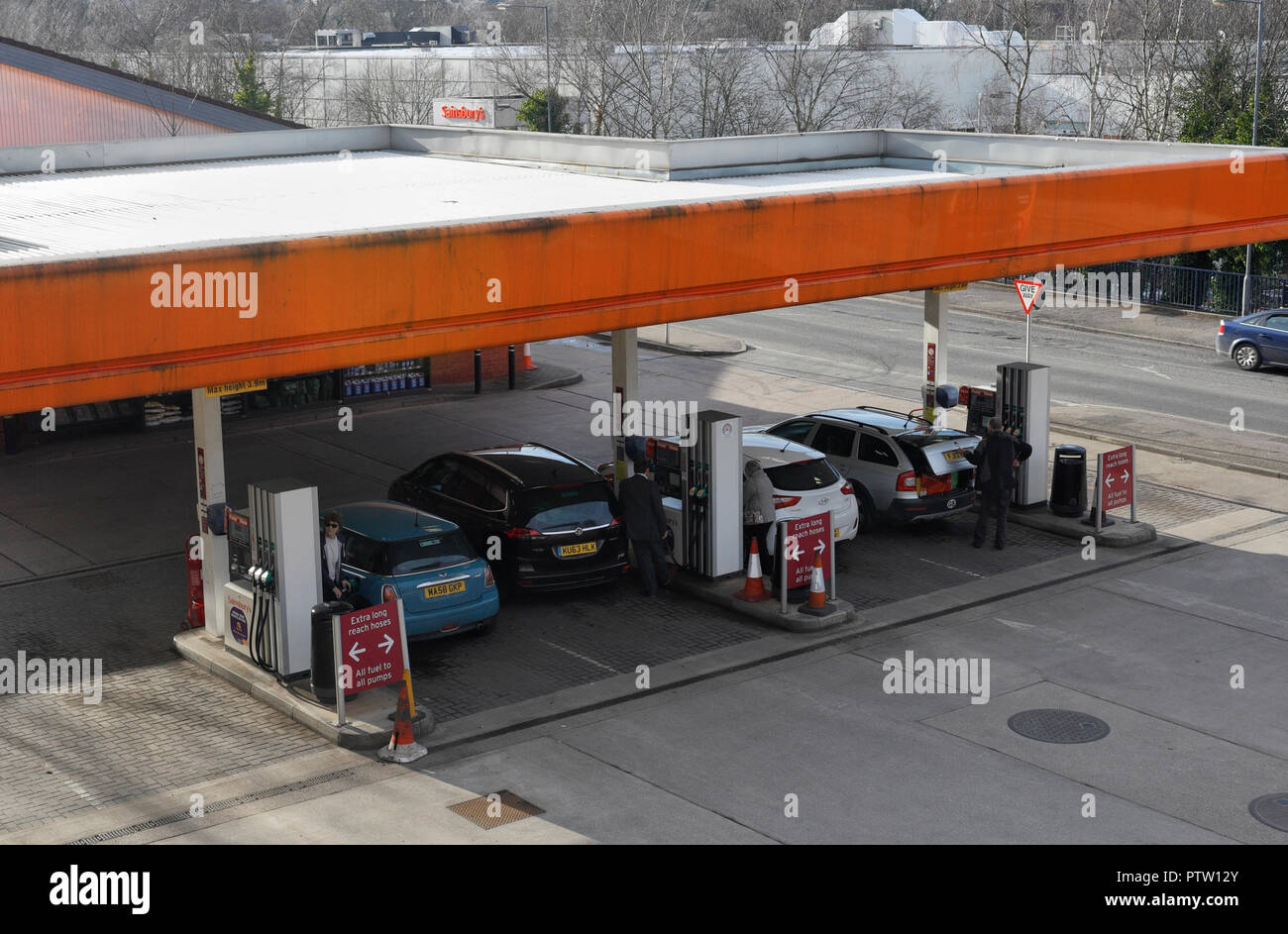Sainsburys filling station, Abbeydale Sheffield UK - Stock Image
