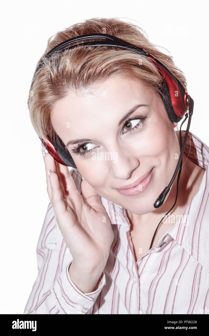 Attraktiv, beautiful, blond, business, Dienstleistungen, Erwachsen, Frau, Headphone, Headset, Kontaktperson, Kundenberatung, laechelnd, Mikrofon, oper Stock Photo