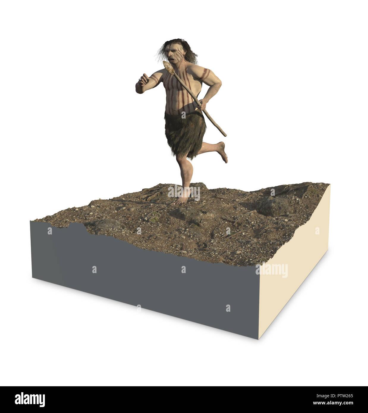 Digital illustration and 3d render of a Neandertal man - Stock Image