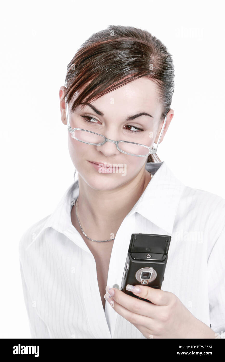 frau, jung, dunkle, haare, innen, erwachsene, arbeitsplatz, beschaeftigung, buero, business, businessfrau, erfolgreiche, frauen, fuehrungskraft, fuehr - Stock Image