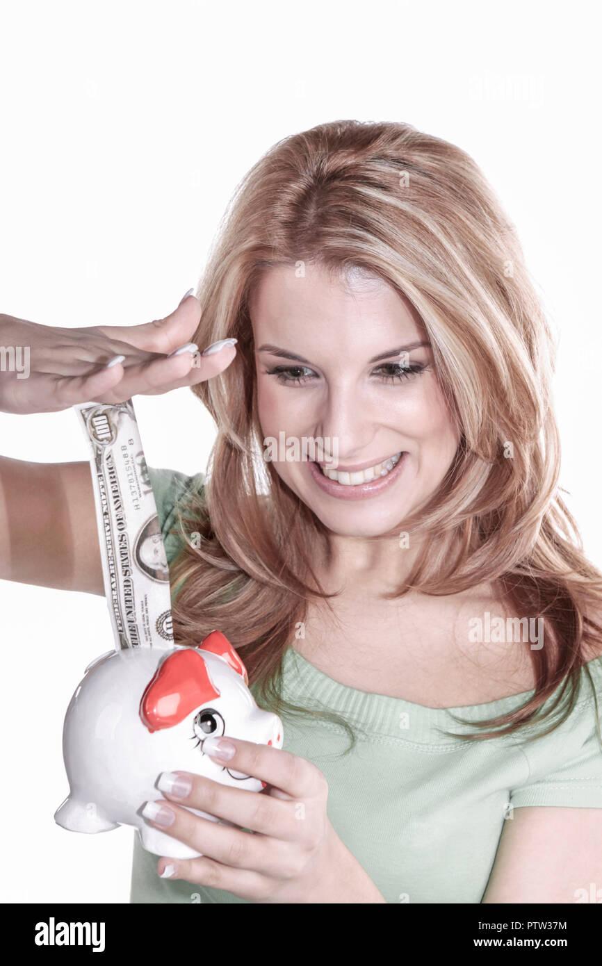 20-25, 20-30, blond, Blondine, Erfolg, erfolgreich, Ersparnisse, Euro, Finanzen, Finanzierung, Frau, Geld, Gewinn, gluecklich, Gluecksbringer, Humor,  - Stock Image