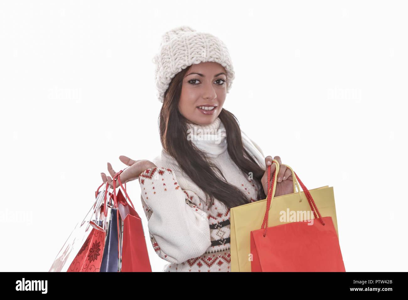 frau, jung, junge, weiblich, schoen, menschen, froehlich, einkaufen, kaufen, laecheln, geschenk, konsum, freude, vergnuegen, sinnlichkeit, eine person - Stock Image