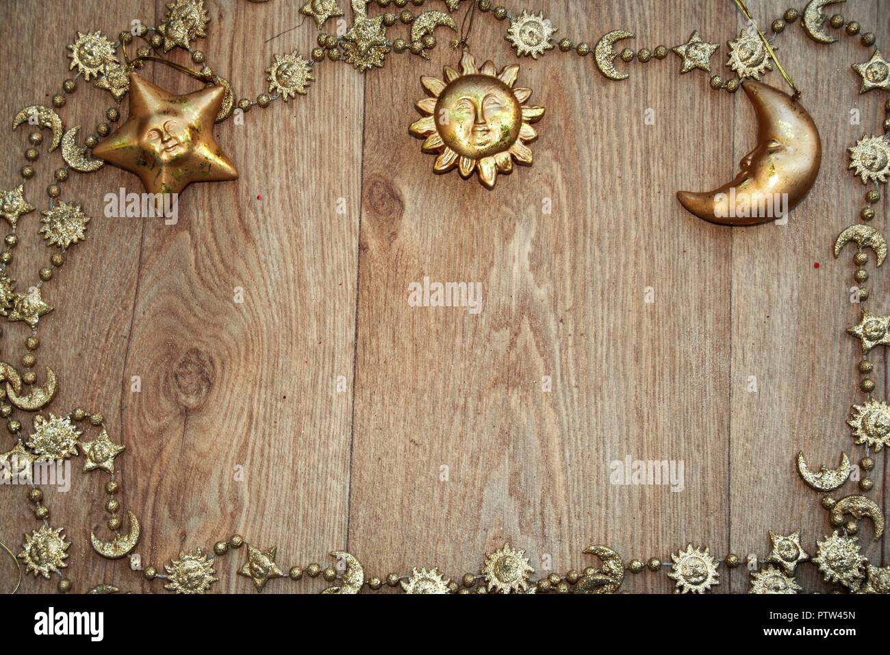 Golden Christmas Frame With A Golden Chain And Golden Star Sun And