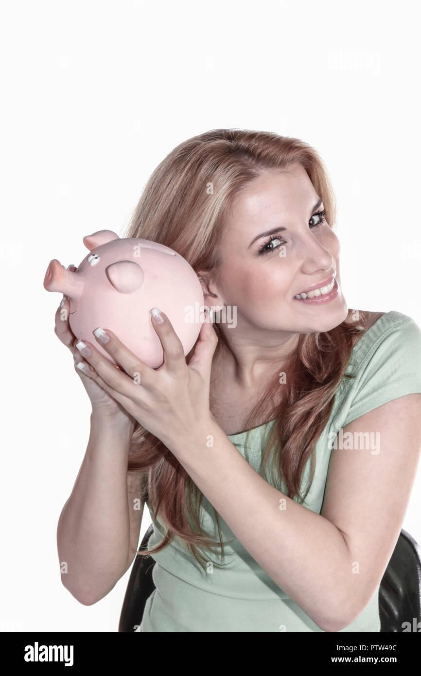 20-25, 20-30, blond, Blondine, Erfolg, erfolgreich, Ersparnisse, Euro, Finanzen, Finanzierung, Frau, Geld, Gewinn, gluecklich, Gluecksbringer, halten, - Stock Image