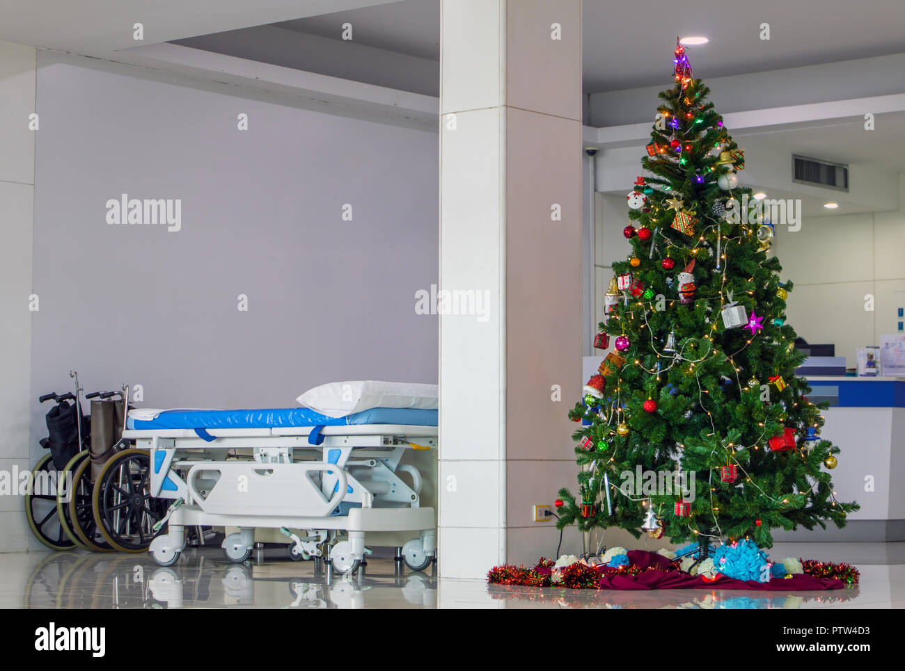 A Empty Wheelchair And Wheel Bed For Patient With Christmas
