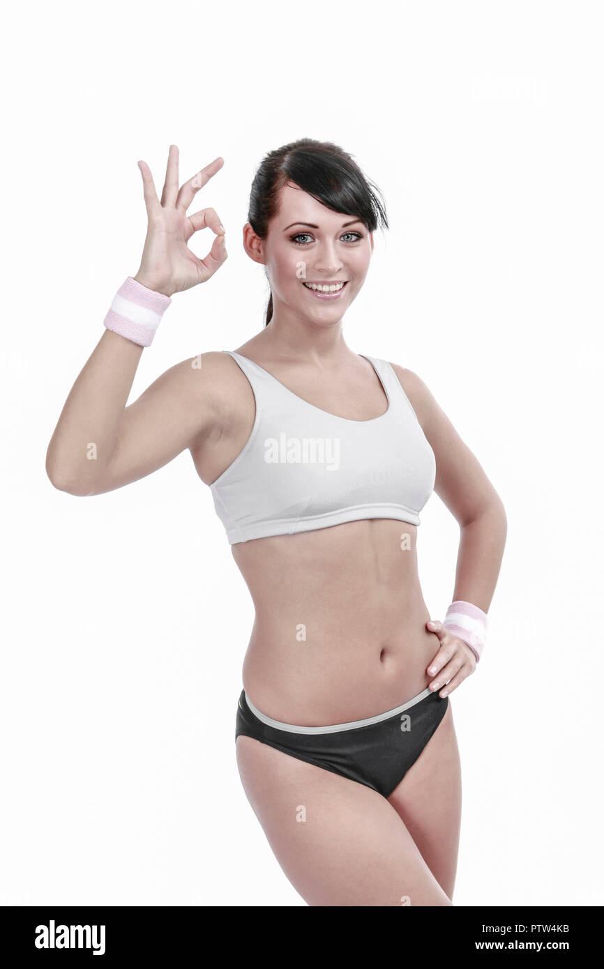 Aktiv, Bewegung, Fitness, Fitnessraum, Fitnessstudio, Gesundheit, Gymnastik, Innenaufnahme, Sport, Sportbekleidung, Sportkleidung, Sportlerin, Trainin - Stock Image
