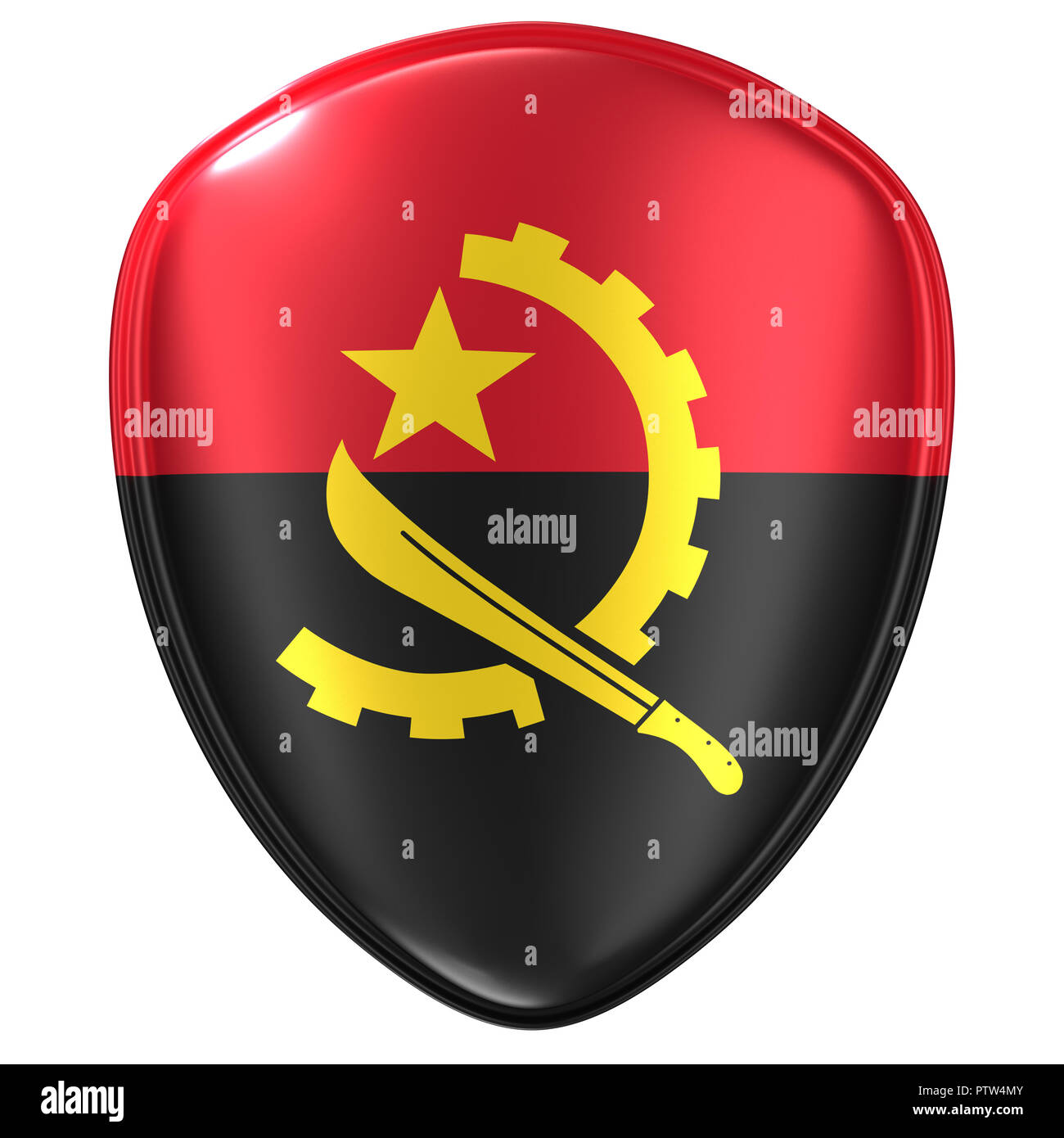 3d rendering of an Angola flag icon on white background. - Stock Image