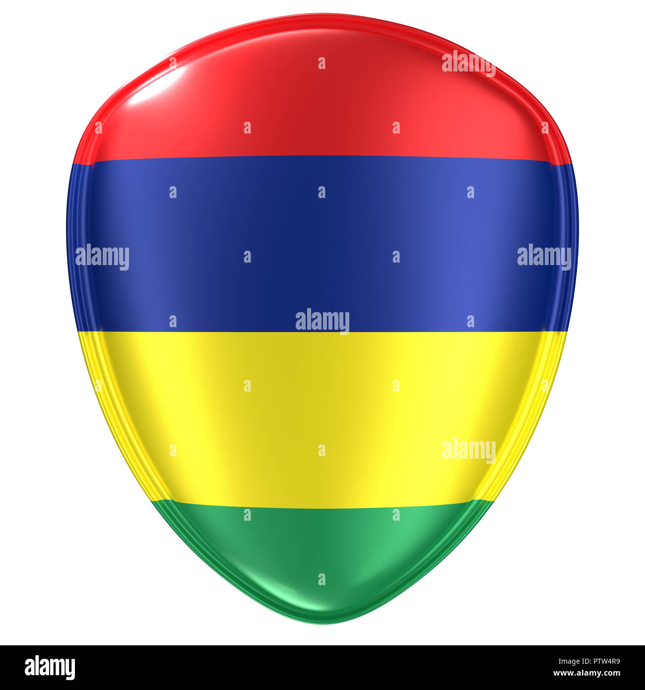 3d rendering of a Republic of Mauritius flag icon on white background. Stock Photo