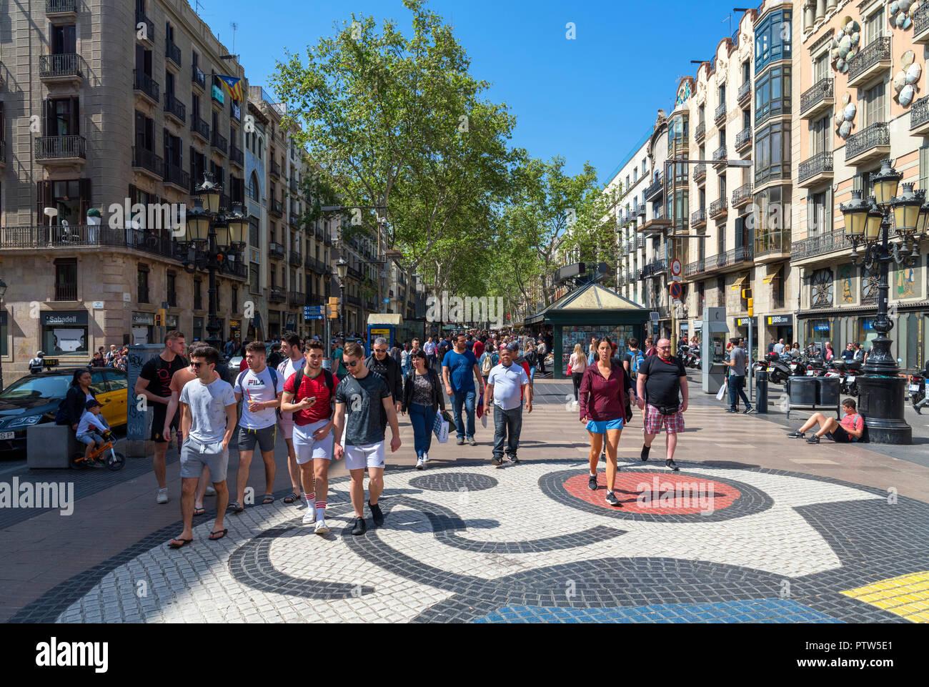 Joan Miro's mosaic on Pla de l'Os, Las Ramblas, Barcelona, Catalunya, Spain. - Stock Image