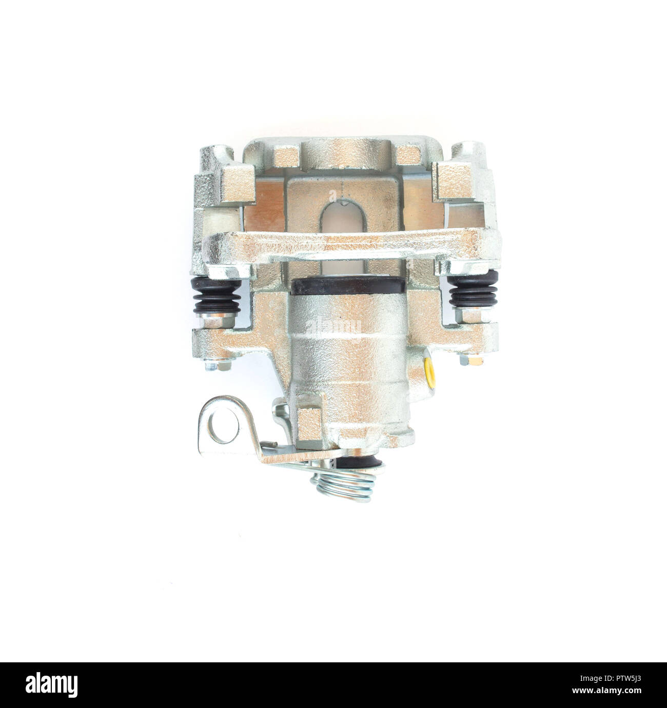 Car brake caliper on white background, isolate - Stock Image
