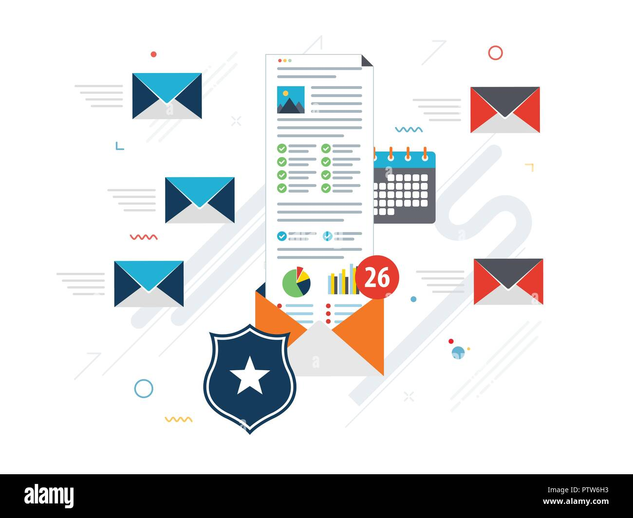 Computer with antivirus for protection, security and blocking of receiving spam by email. Spam blocker. Email protection and secure communication on i - Stock Image