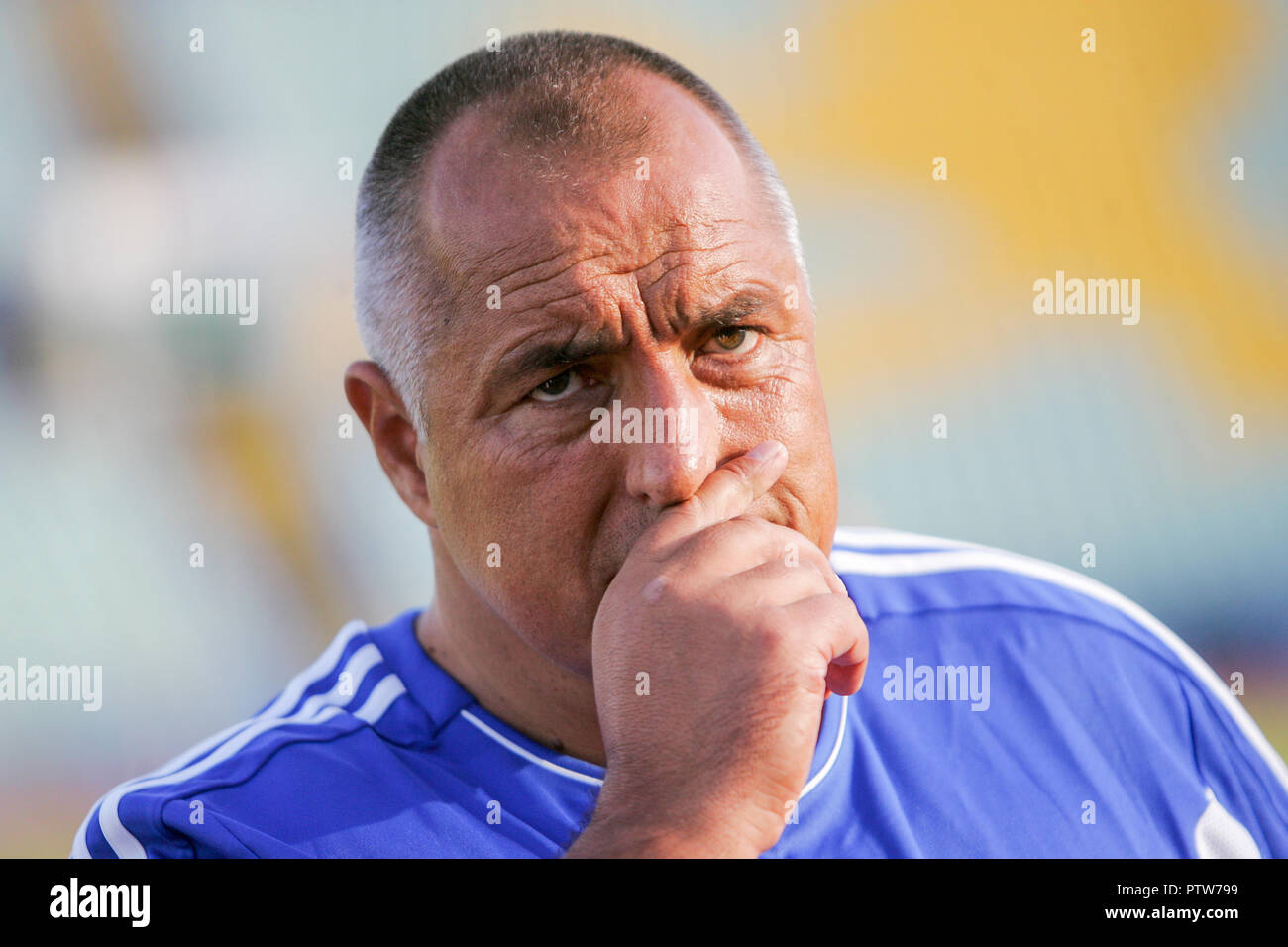 SOFIA, BULGARIA - 08 SEPTEMBER 2011: Bulgarian prime minister Boyko Borisov touching his nose during charitable football match in Sofia, Bulgaria, Sep - Stock Image