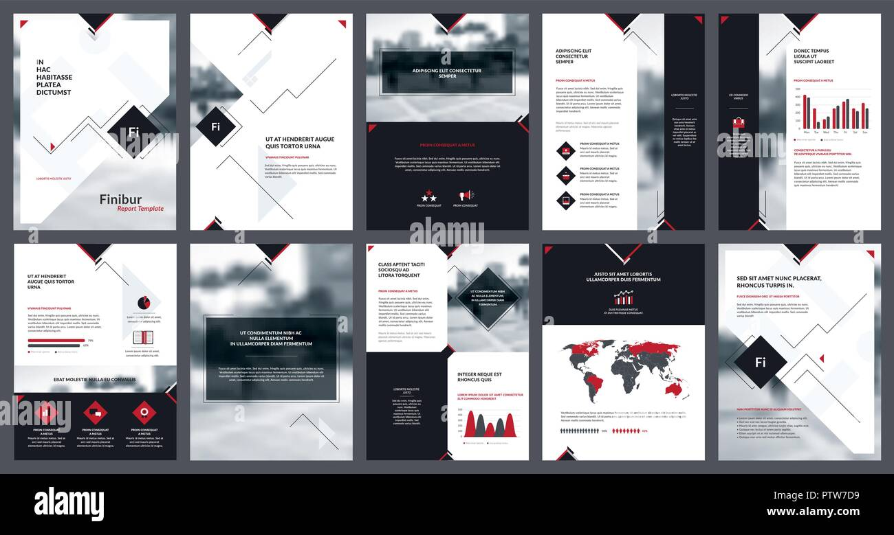 Elements of infographics for report template and presentations templates. Corporate annual report, leaflet, book cover design, brochure and flyer temp - Stock Image