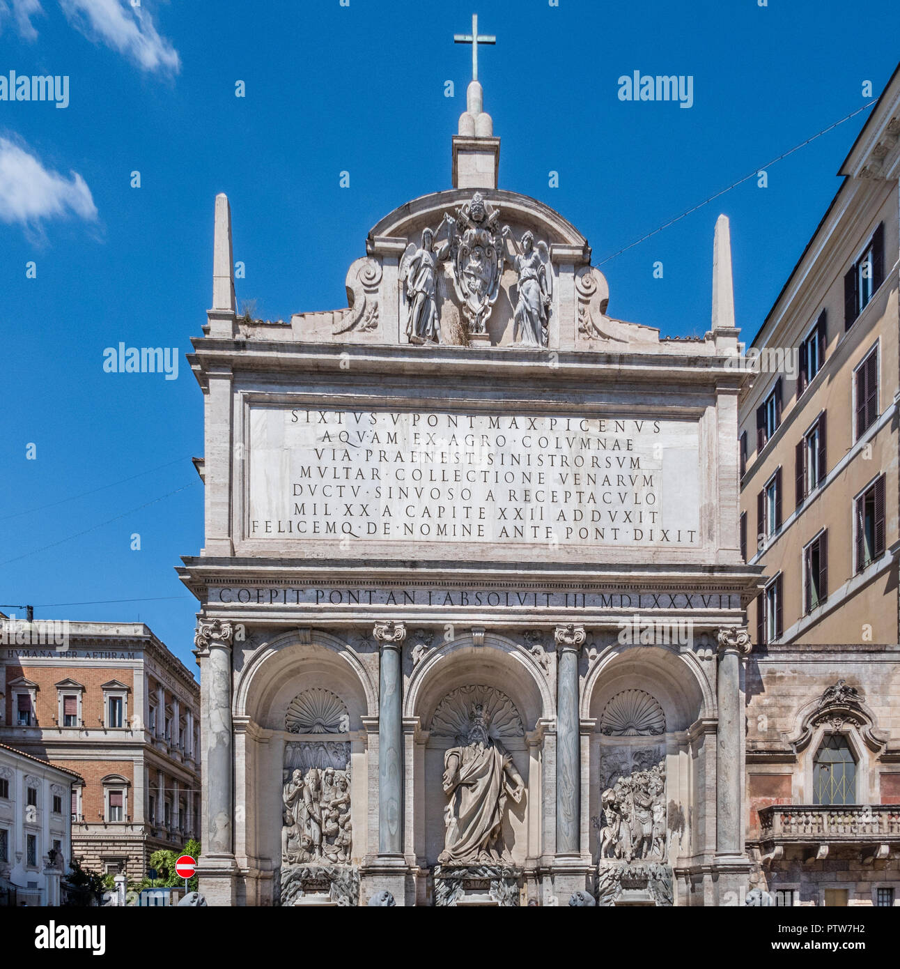 Fontana dell'Acqua Felice, known as Fountain of Moses, with a dominant statue of Moses in the centre of the Roman triumphal arch in the Metropolitan C - Stock Image